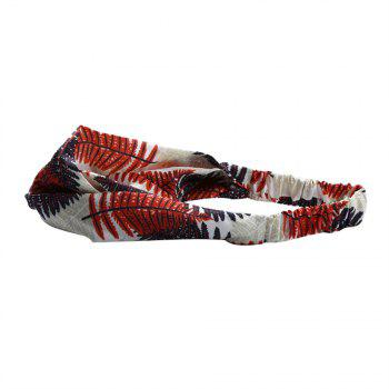 Female Travel Home Wash Cross Elastic Maple Leaf Headband - CADETBLUE