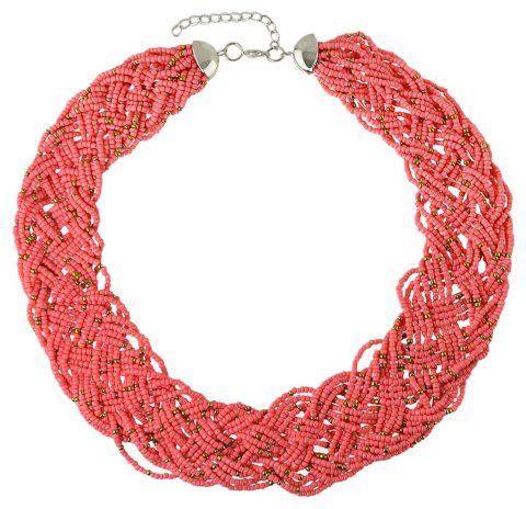 Colorful Bead Chain Necklace for Women - WATERMELON PINK