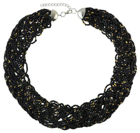 Colorful Bead Chain Necklace for Women - BLACK