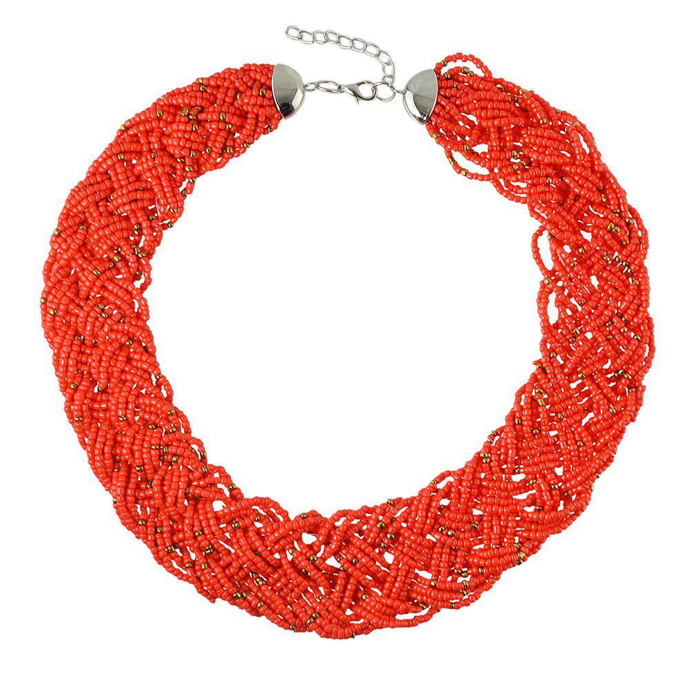 Colorful Bead Chain Necklace for Women - FIRE ENGINE RED