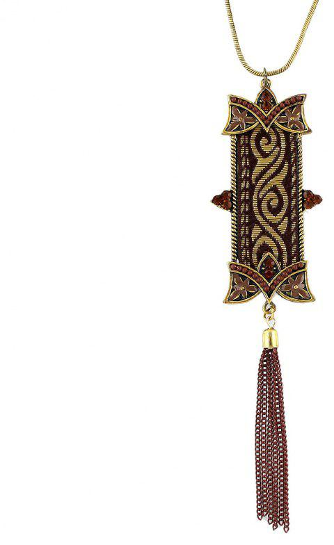 Metal Long Chain with Geometry Tassel Pendant Necklace - multicolor A