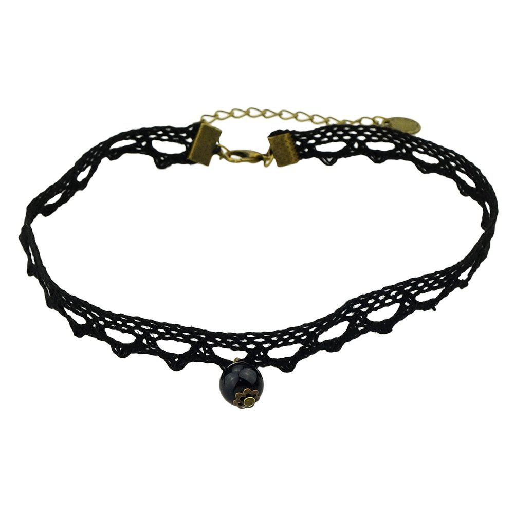 Hollow-out Lace Tattoo Short Necklace with Bead - BLACK