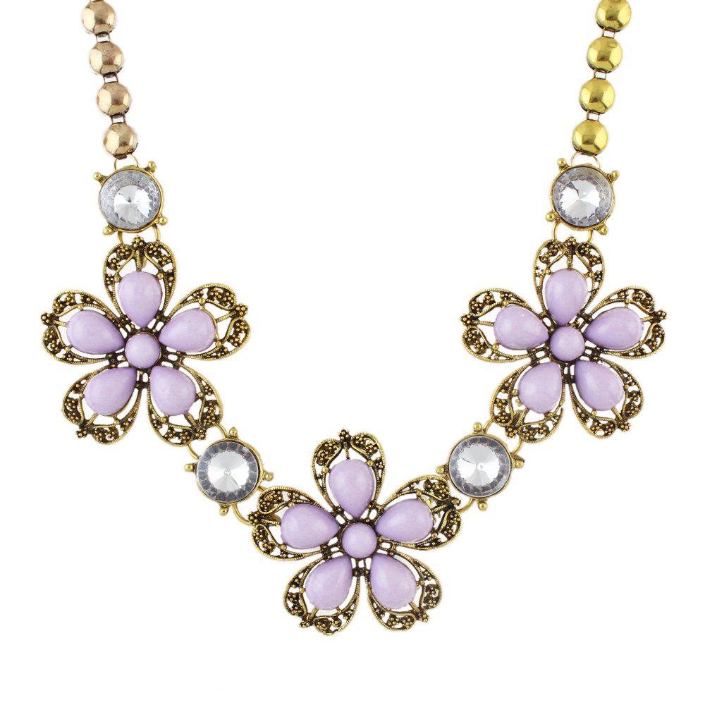 Colorful Flower Collar Big Necklace for Fashion Women - multicolor C