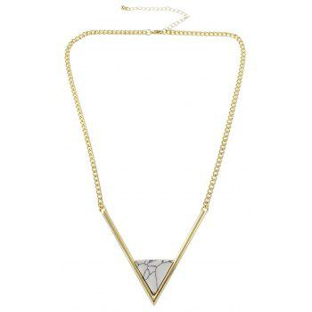 Metal Chain with Turquoise Geometric V Shape Pendant Necklace - GOLD