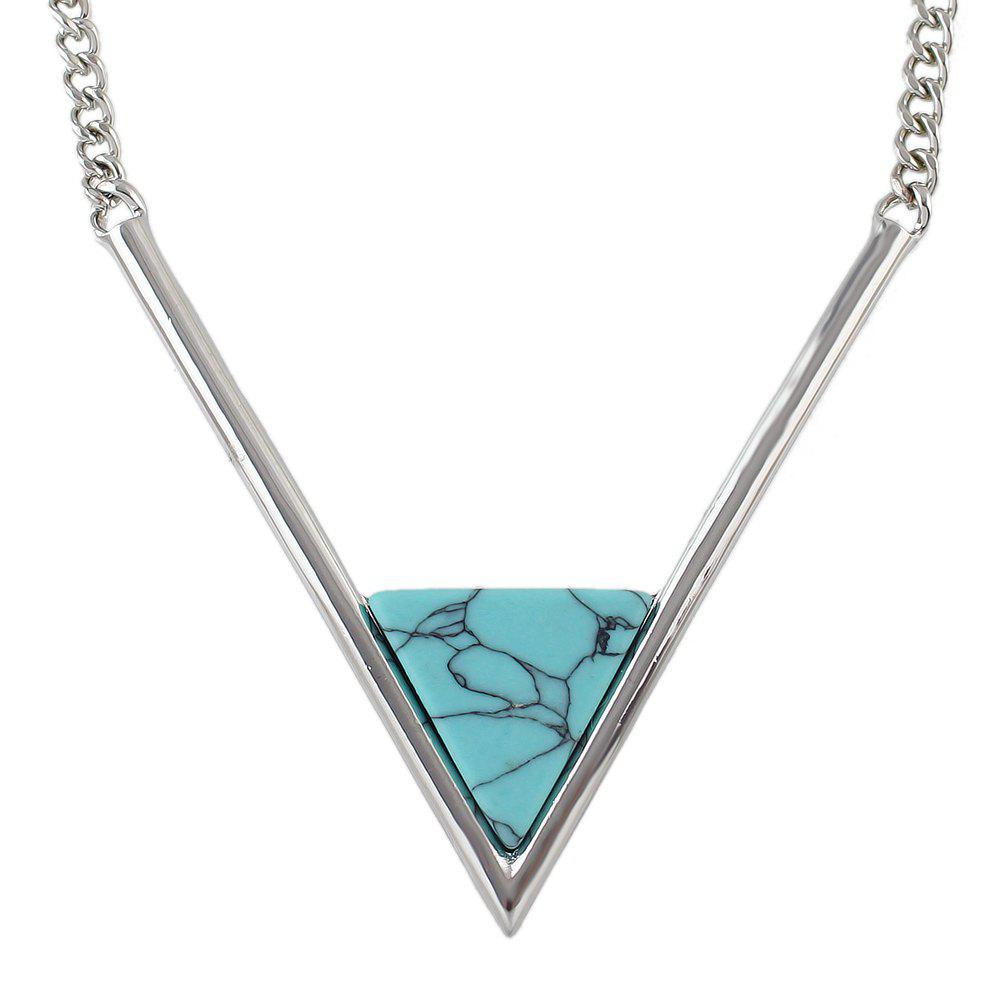 Metal Chain with Turquoise Geometric V Shape Pendant Necklace - SILVER