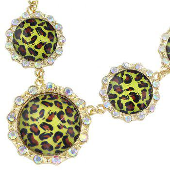 Metal Chain with Round Leopard Pattern Statement Necklace - GOLD