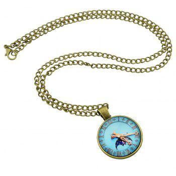 Watch Pattern Round Pendant Necklace for Women - multicolor A