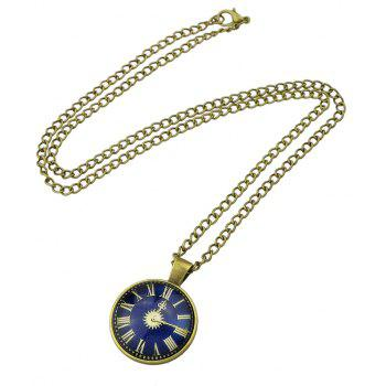 Watch Pattern Round Pendant Necklace for Women - multicolor B
