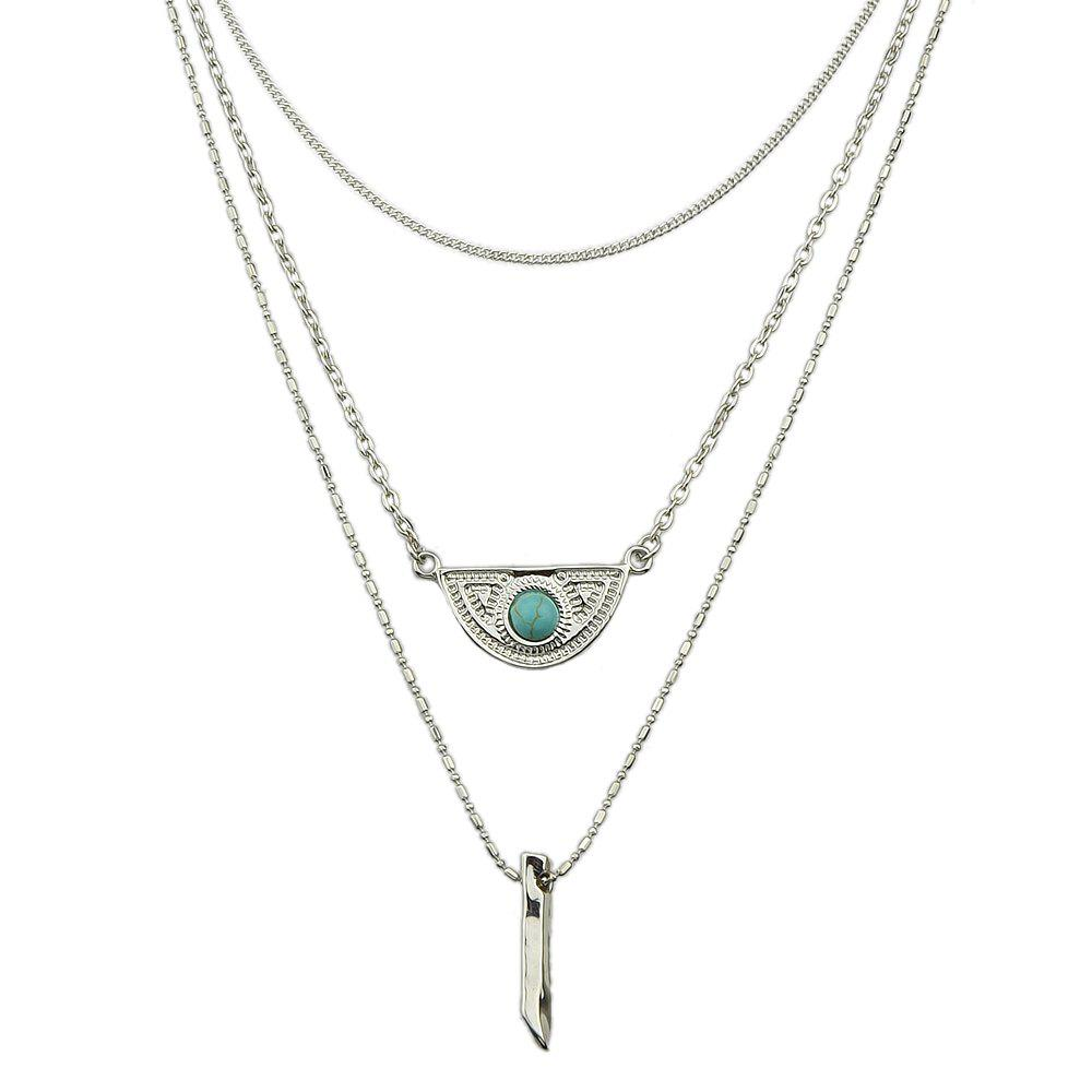 Metal Multilayer Chain Turquoise Geometry Necklace - SILVER