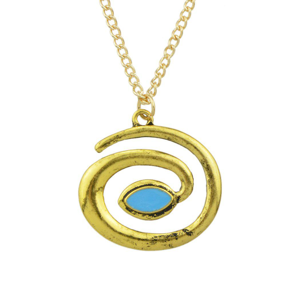 Metal Chain Enamel Geometric Pendant Necklace - GOLD