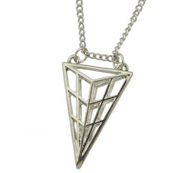 Long Chain Hollow-out Triangular Geometric Pendant Necklace - SILVER