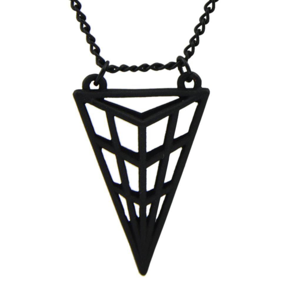 Long Chain Hollow-out Triangular Geometric Pendant Necklace - BLACK