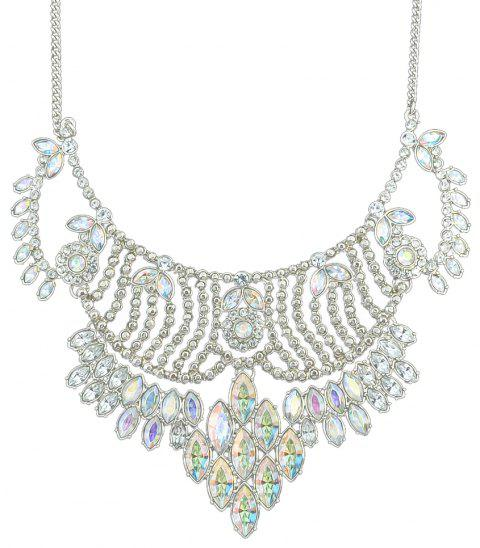 Luxurious Full Drill Gemstone Necklace for Women - SILVER