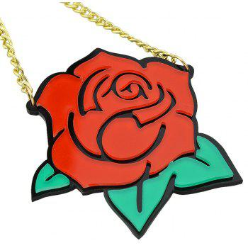 Acrylic Large Rose Flower Pendant Necklace - multicolor