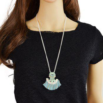 Long Chain with Gemstone Geometry Sector Tassel Pendant Necklace - multicolor