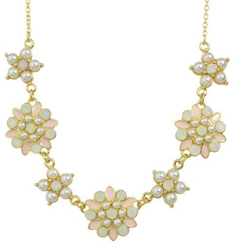 Beautiful Enamel Bead Flower Necklace for Women - multicolor
