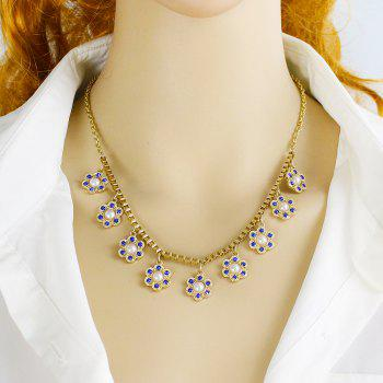 Metal Chain with Rhinestone Flower Necklace for Women - GOLD