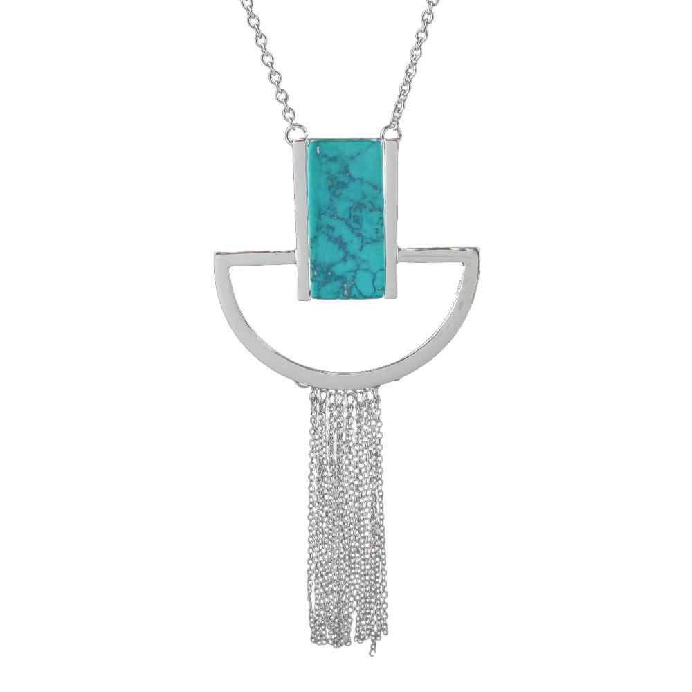 Minimalist Geometry Tassel Pendant Necklace for Women - SILVER