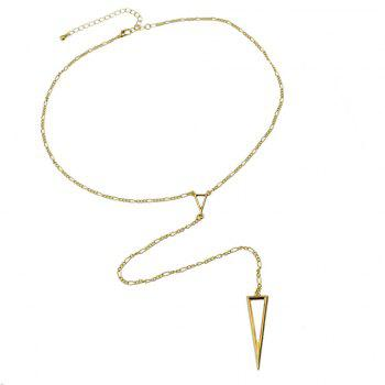 Minimalist Long Metal Chain Geometry Necklace - GOLD