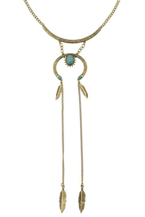 Feather Shape Charm Long Chain Necklace - GOLD