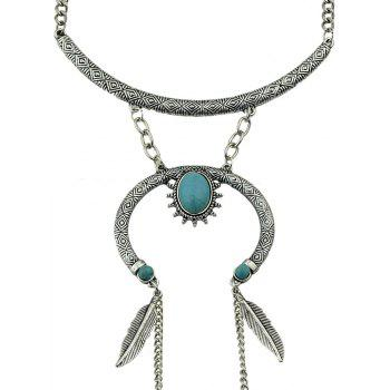 Feather Shape Charm Long Chain Necklace - SILVER