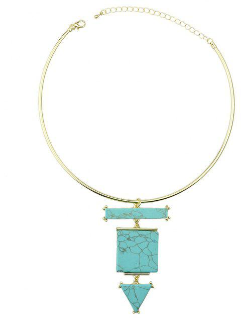 Metal Collar Turquoise Geometric Torques Necklace - multicolor