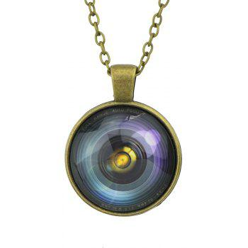 Metal Long Chain Circular Geometry Microcosm Pattern Pendant Necklace - multicolor