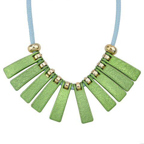 PU Leather Chain with Colorful Geometry Necklace - multicolor C