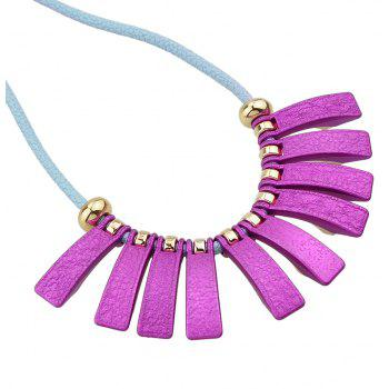 PU Leather Chain with Colorful Geometry Necklace - multicolor D