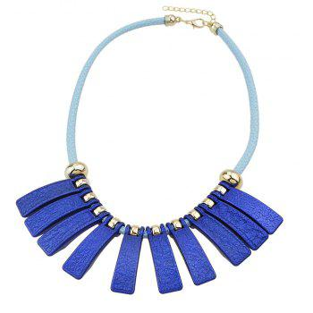 PU Leather Chain with Colorful Geometry Necklace - multicolor A