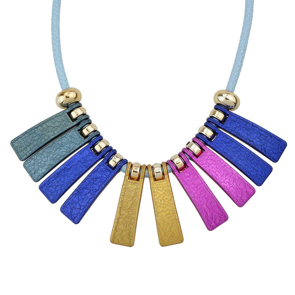 PU Leather Chain with Colorful Geometry Necklace - multicolor B