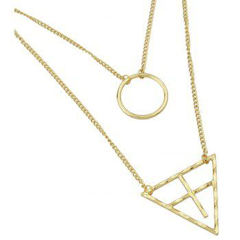 Multi-layer Metal Chain with Triangulation Circle Pendant Necklace for Women - GOLD
