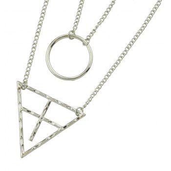 Multi-layer Metal Chain with Triangulation Circle Pendant Necklace for Women - SILVER