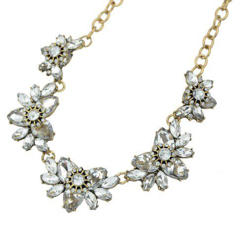 Beautiful Rhinestone Flower Decoration Necklace - multicolor