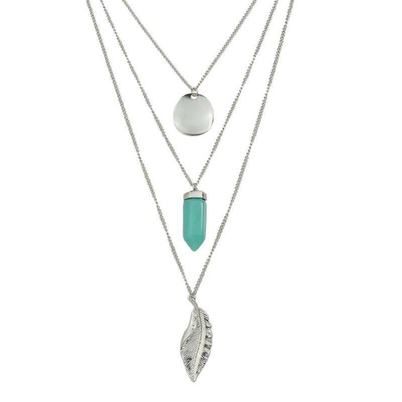 Metal Multilayer Chain with Leaf Geometry Pendant Necklace - SILVER