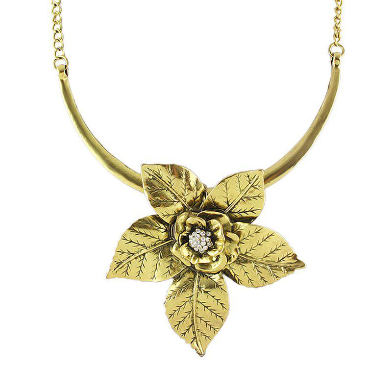 Fashion Metal Flower Decoration Necklace for Women - GOLD
