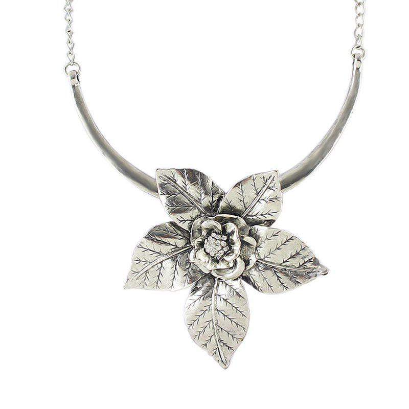 Fashion Metal Flower Decoration Necklace for Women - SILVER