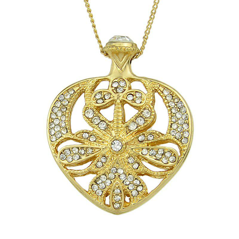 Rhinestone Hollow-out Heart Shaped Pendant Necklace - GOLD