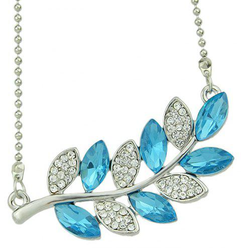 Metal Bead Chain Rhinestone Crystal Leaf Pendant Necklace - multicolor A