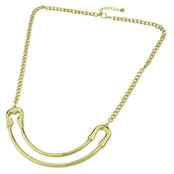 Metal Long Chain Curved Pin Pendant Necklace - GOLD
