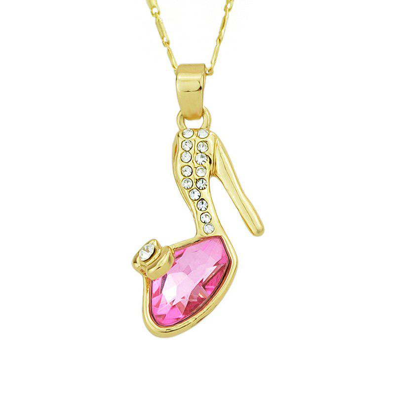 Beautiful Rhinestone High-heeled Shoes Pendant Women Necklace - multicolor A