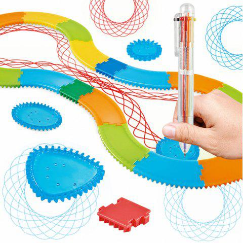 Creative Art Track Painting Ruler Set Children Educational Toy - multicolor A