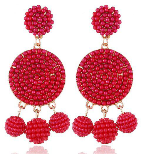 Exquisite Fashion Ball Geometric Earrings - LAVA RED