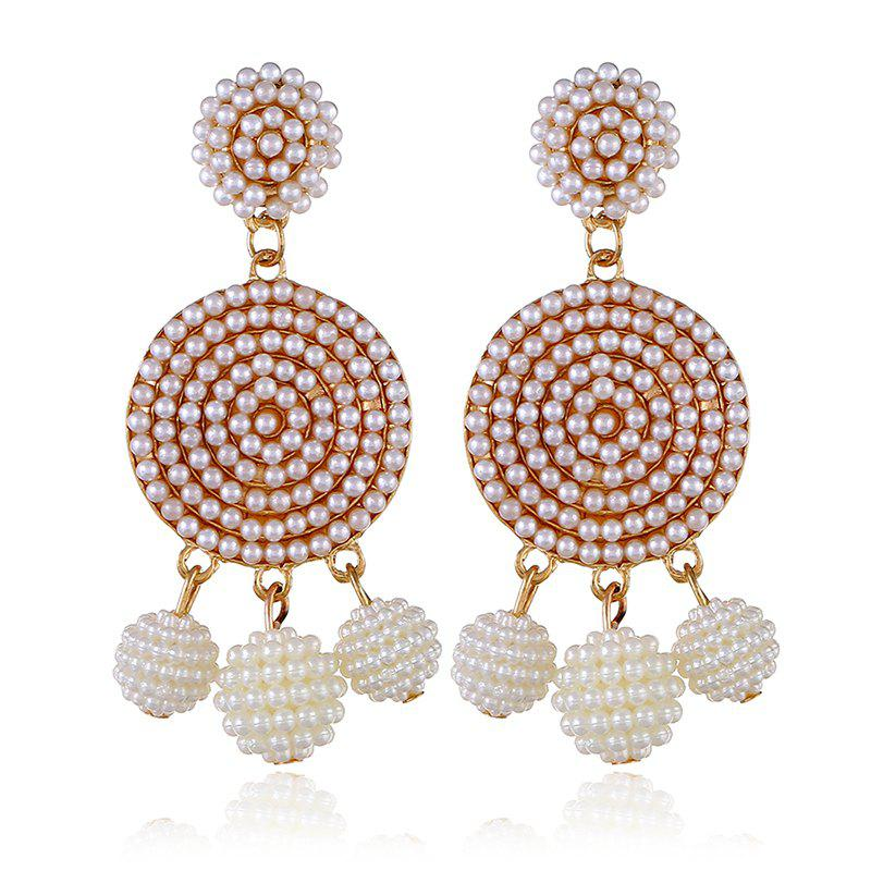 Exquisite Fashion Ball Geometric Earrings - WHITE