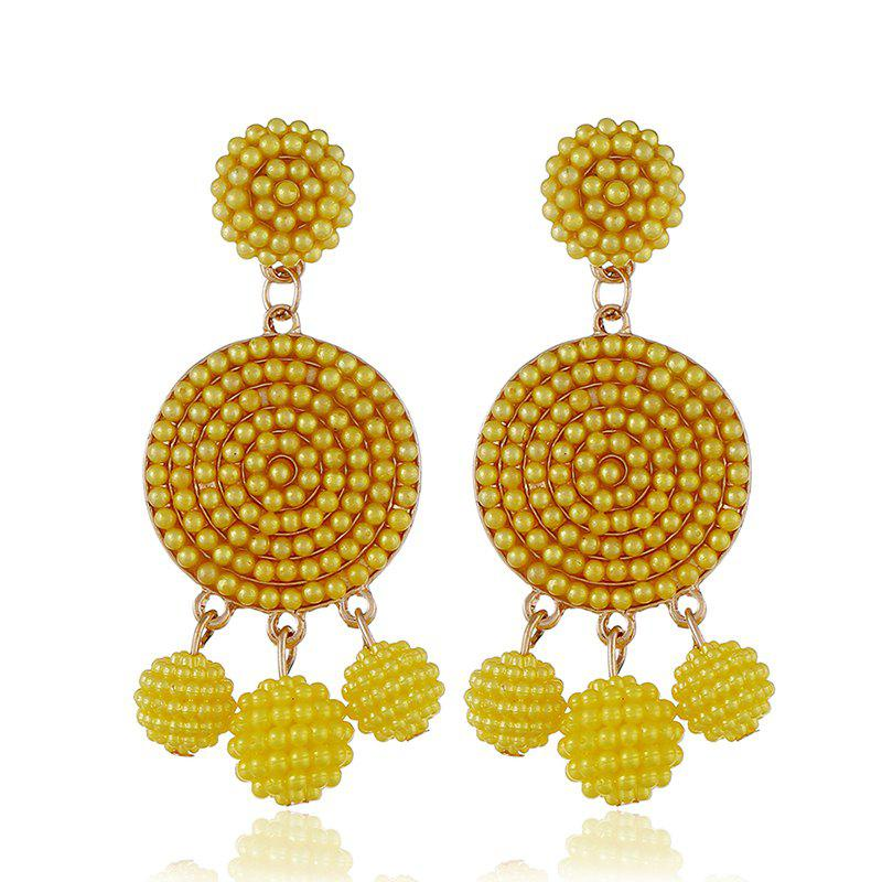 Exquisite Fashion Ball Geometric Earrings - GOLDEN BROWN