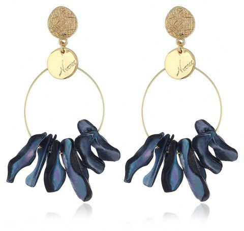 Exaggerated Round Original Shell Marine Earrings - BLACK