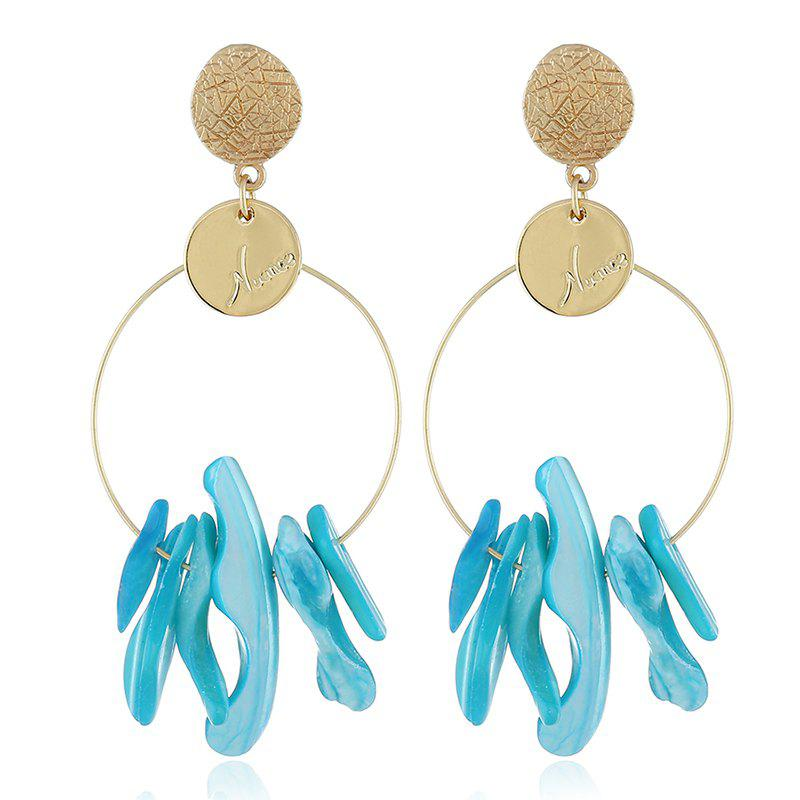 Exaggerated Round Original Shell Marine Earrings - BLUE LAGOON