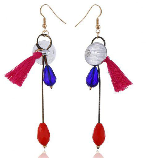 Exquisite Fashion Glass Pendant Long Original Tassel Earrings - multicolor