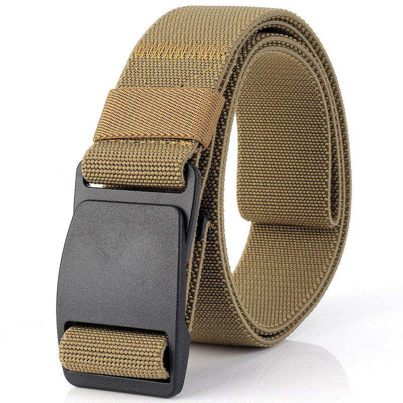 ENNIU Elastic Stretch Weaving Durable Plastic Buckle Canvas Belt - CAMEL BROWN