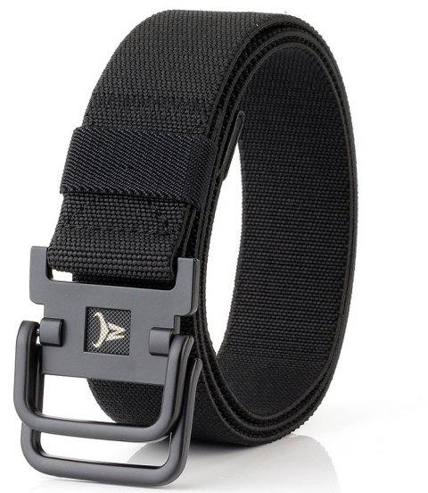 ENNIU Double Buckle Stretch Durable Weaving Nylon Elastic Belt - BLACK